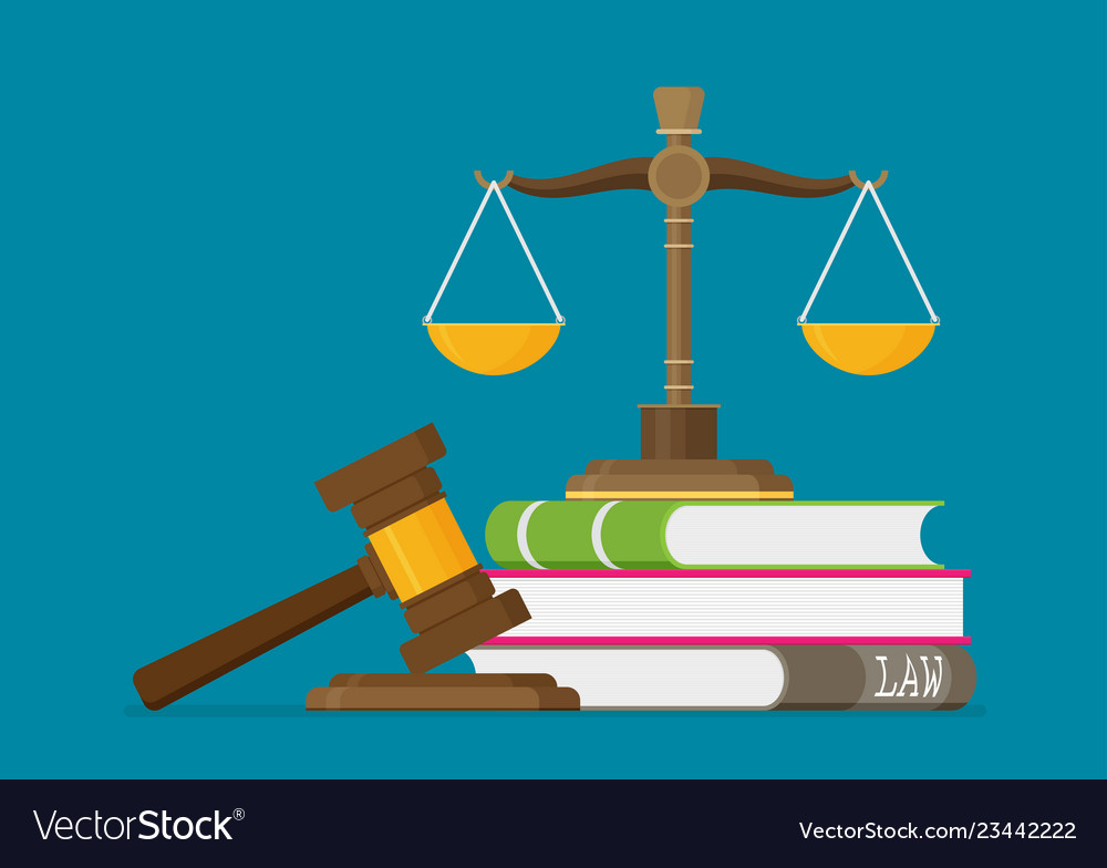 Justice Scales And Wooden Judge Gavel Law Hammer