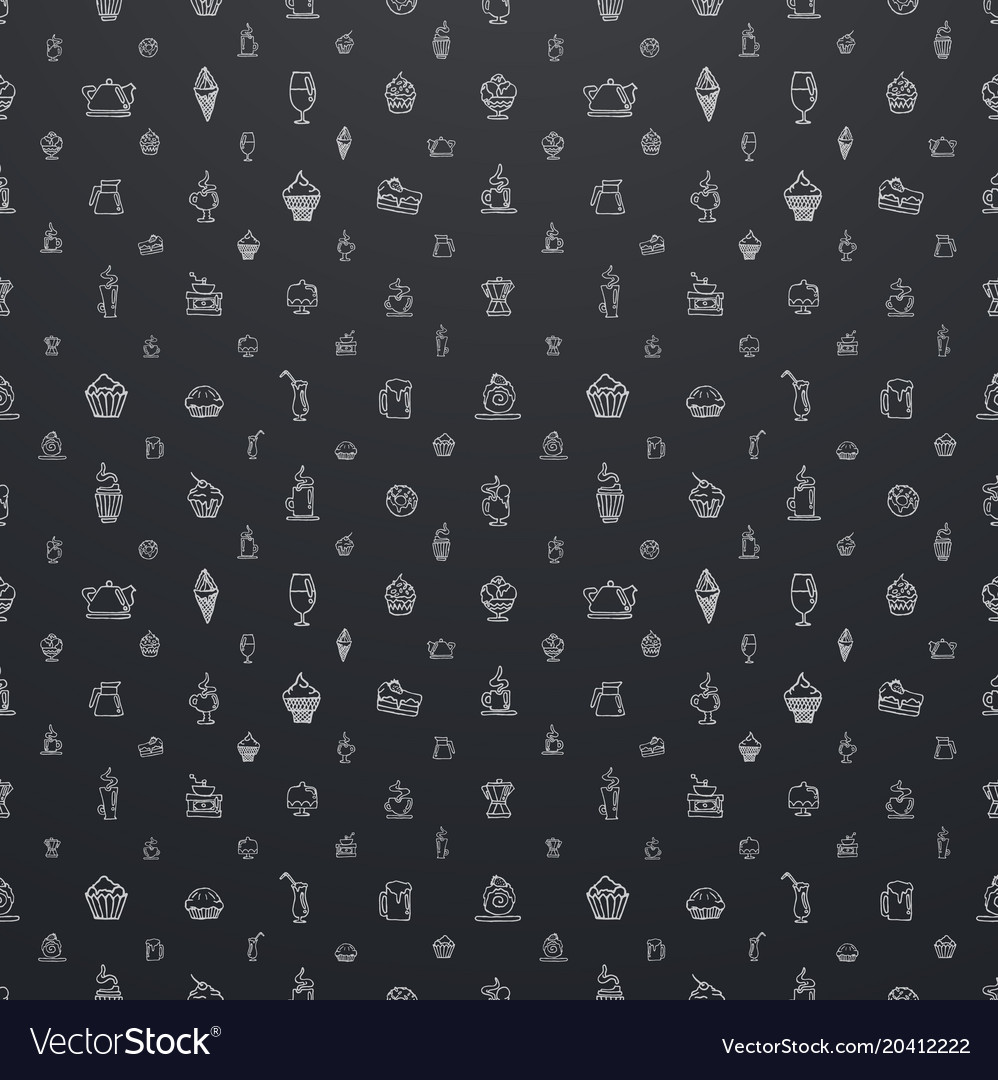 Large seamless black pattern with white elements