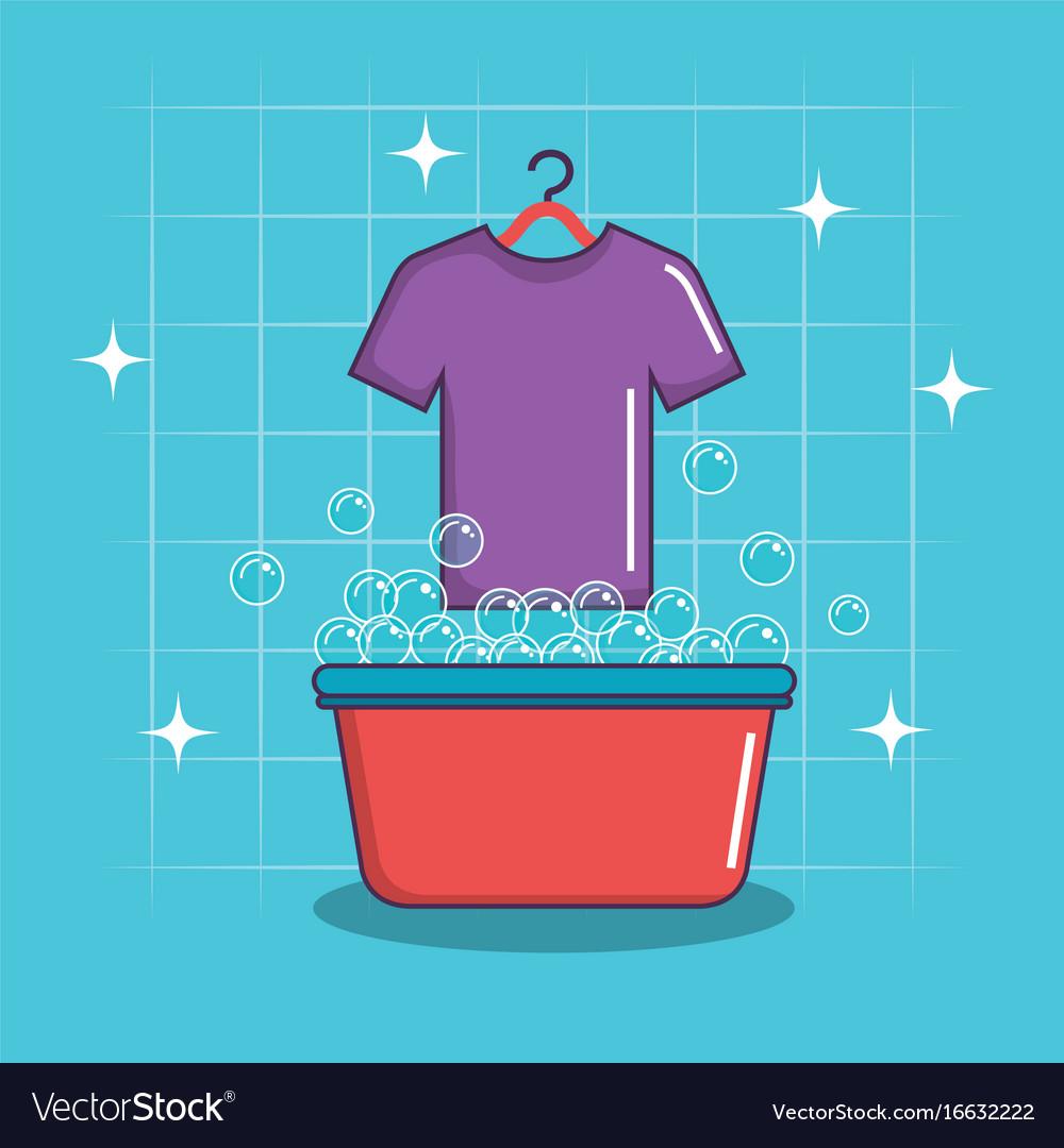 Laundry basin soap tshirt bubbles clean vector image