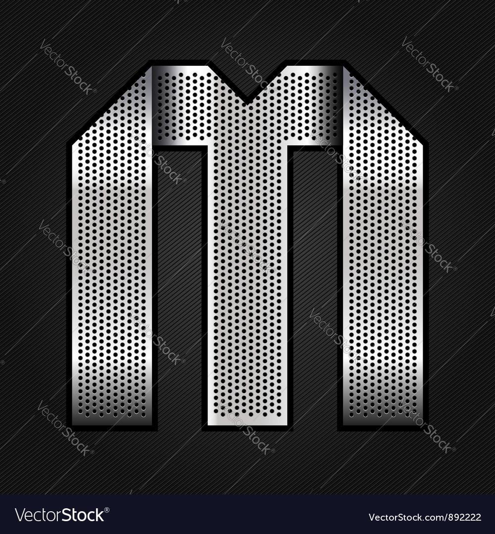 Letter metal chrome ribbon - M vector image