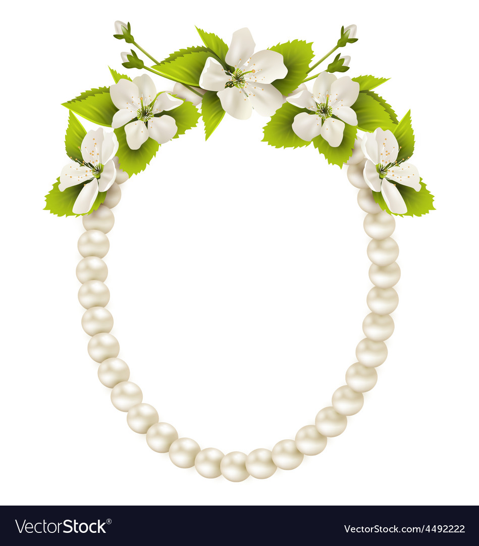 Pearl oval like frame with cherry flowers isolated
