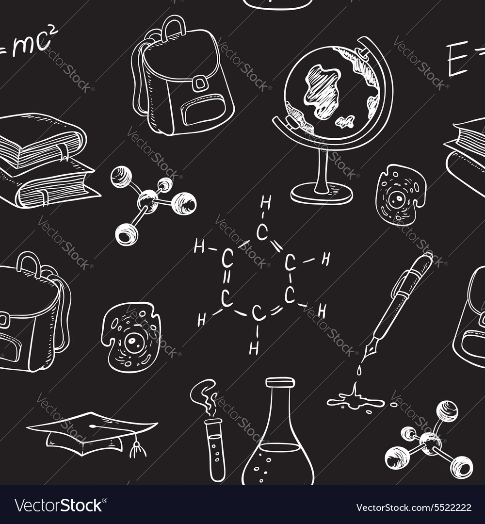 School seamless pattern with various items vector image