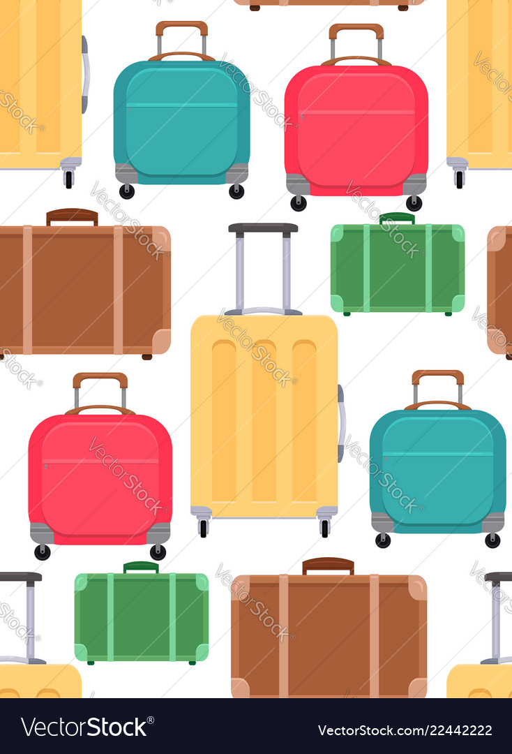Seamless texture with various suitcases on a