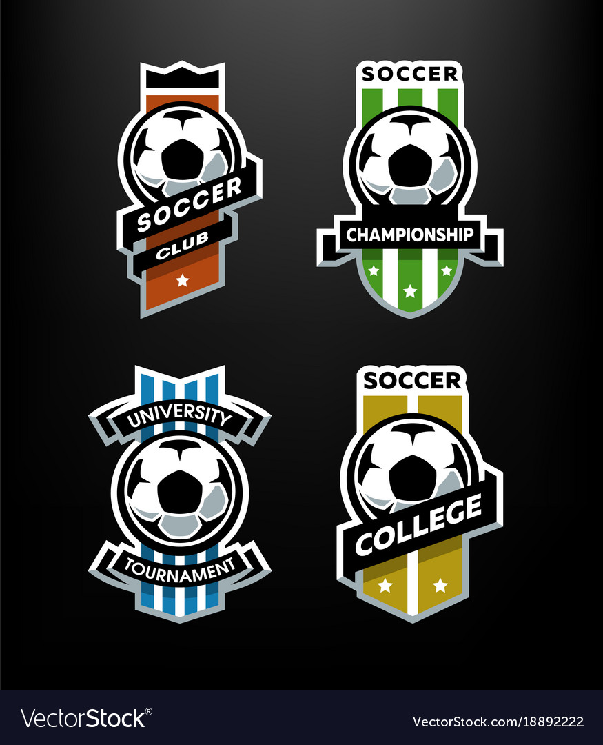 Set of soccer football logo emblem on a dark