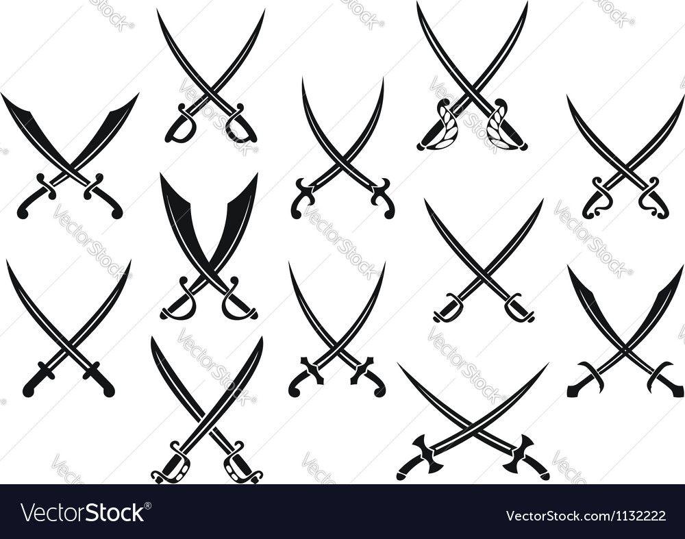 Swords and sabres for heraldry vector image