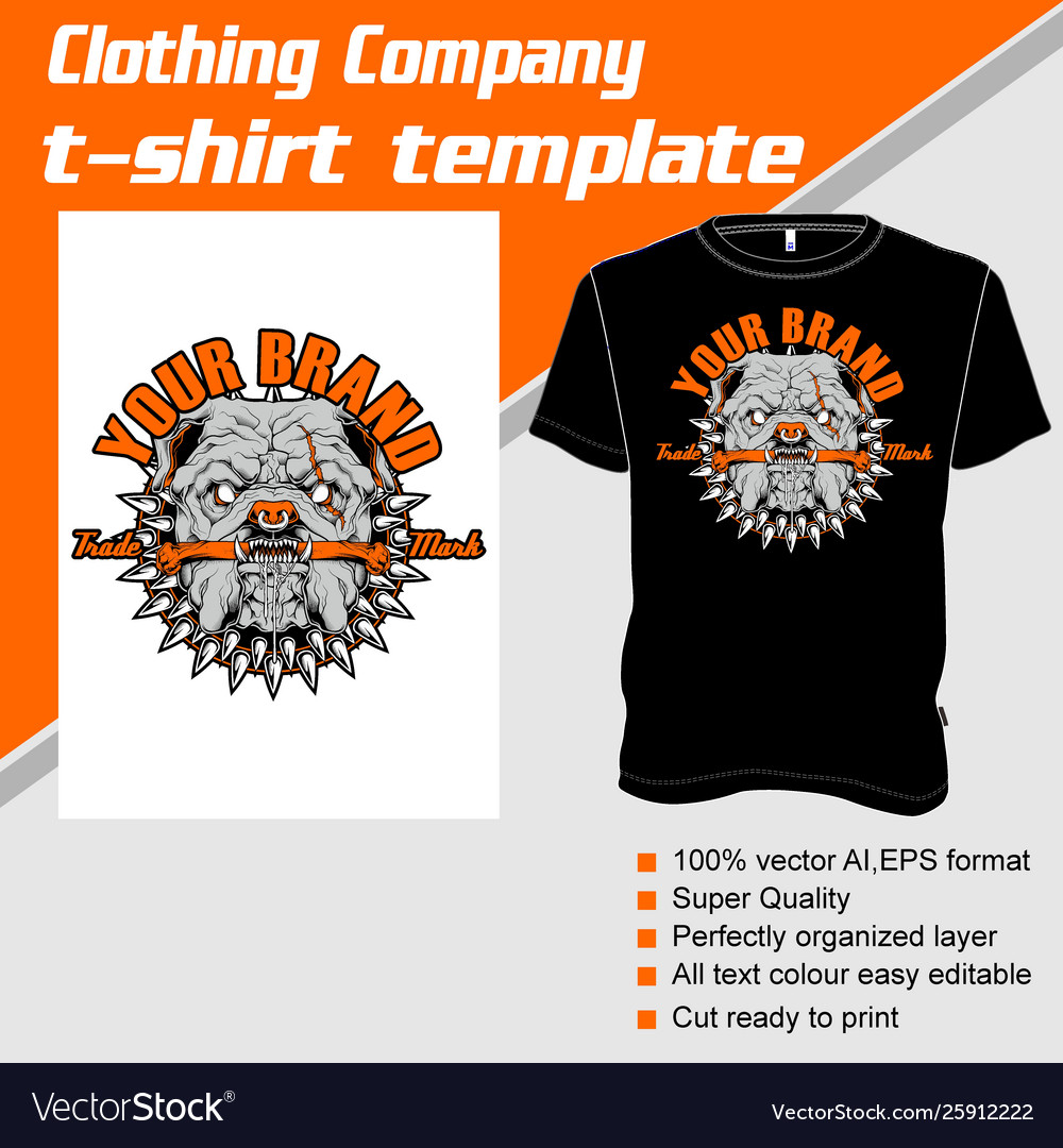 T-shirt template fully editable with pit bull