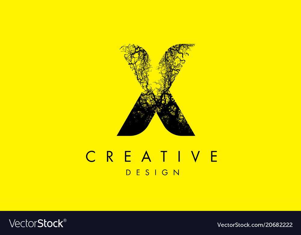 X logo letter made from black tree branches vector image