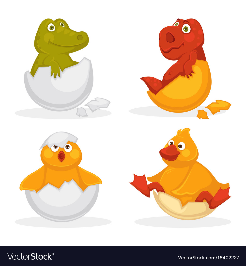 Baby animals hatch eggs or cartoon pets hatching