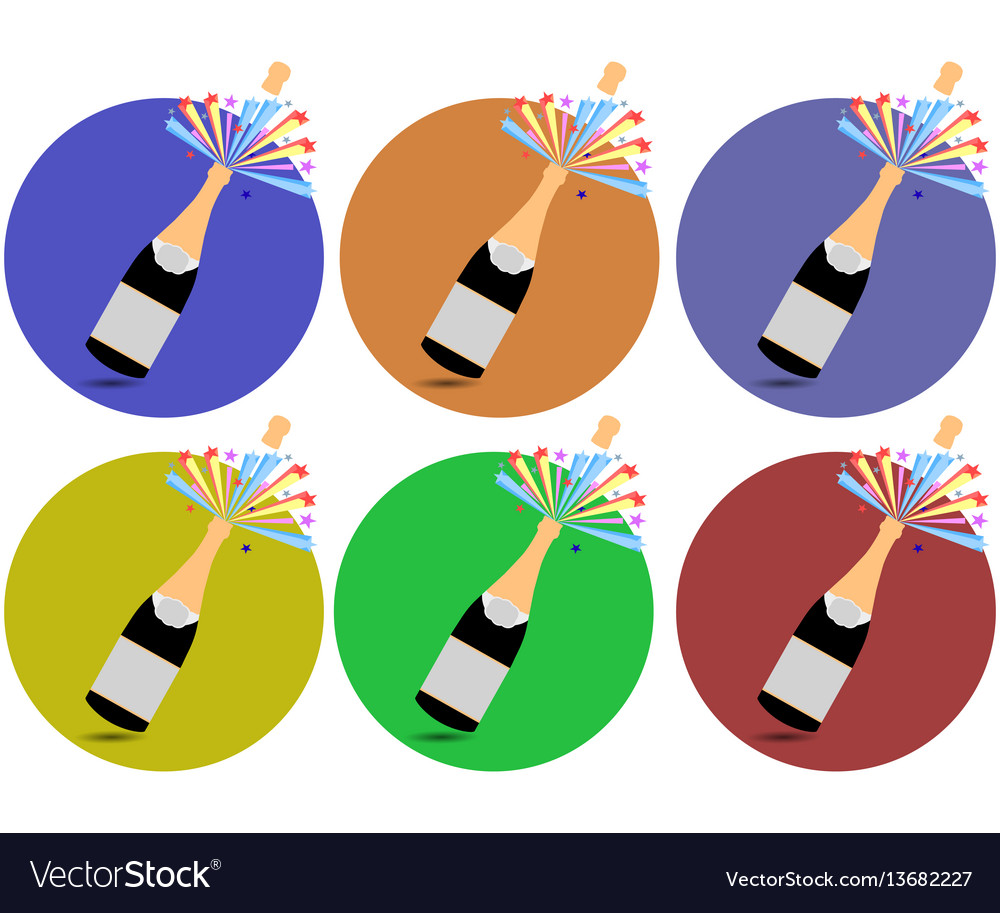 Champagne cork flying out of a bottle icons