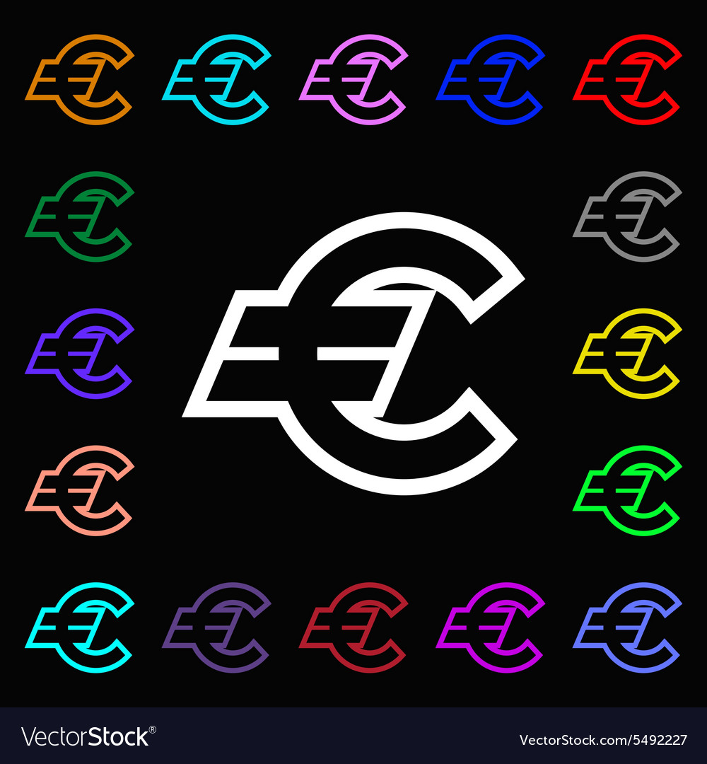 Euro Eur Icon Sign Lots Of Colorful Symbols For Vector Image