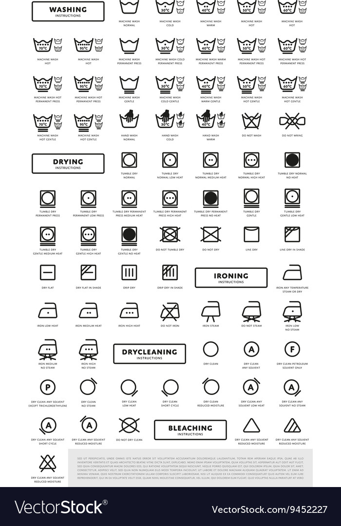 Laundry Washing Symbols Icon Set Royalty Free Vector Image