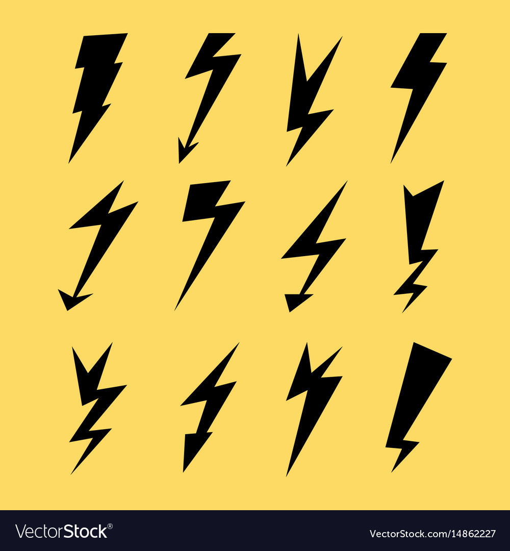 Lightning icon set electricity thunder danger vector image