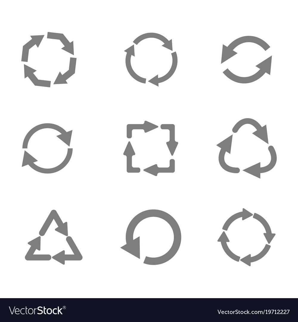 Monochrome set with recycle icon