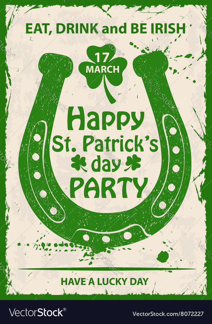 Retro St Patricks Day Typography Poster With