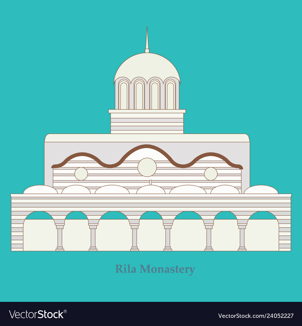 Rila monastery in bulgaria flat cartoon style vector image