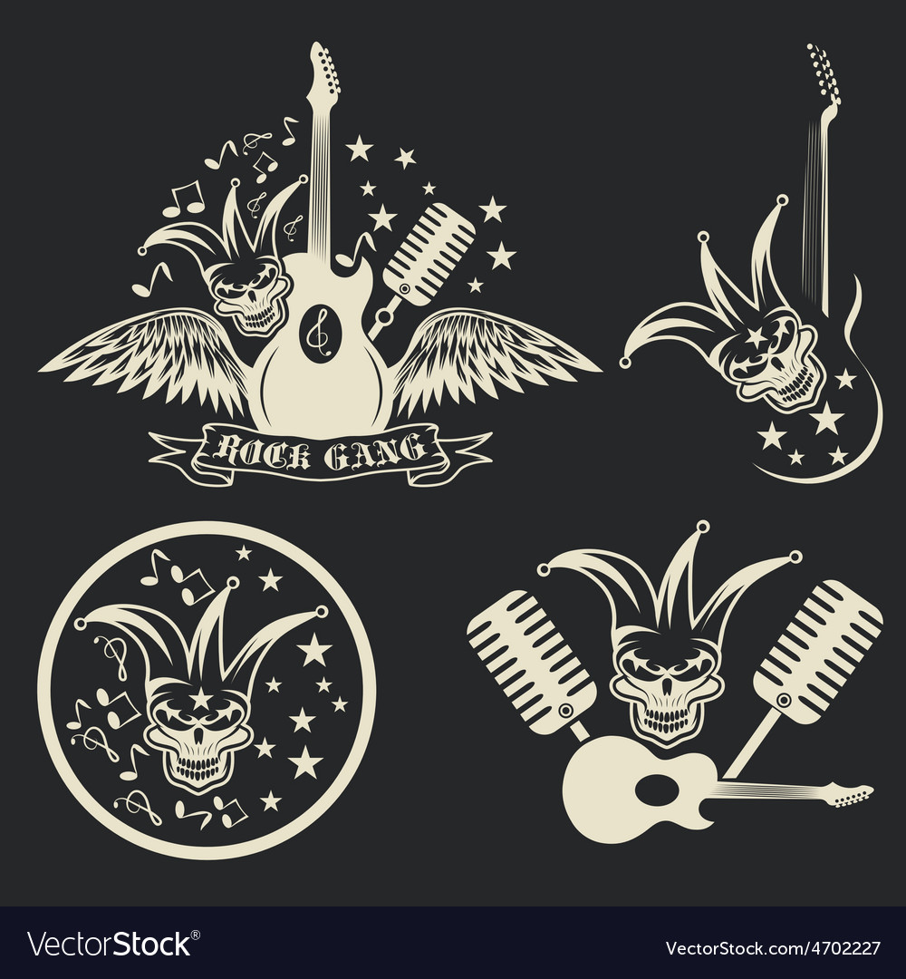 Rock gang set with jester skullwings and guitar