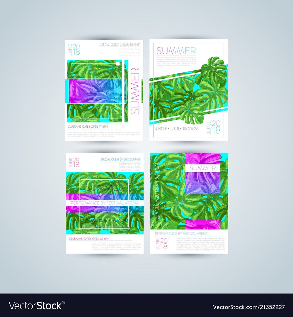 Set of bright and trendy summer posters