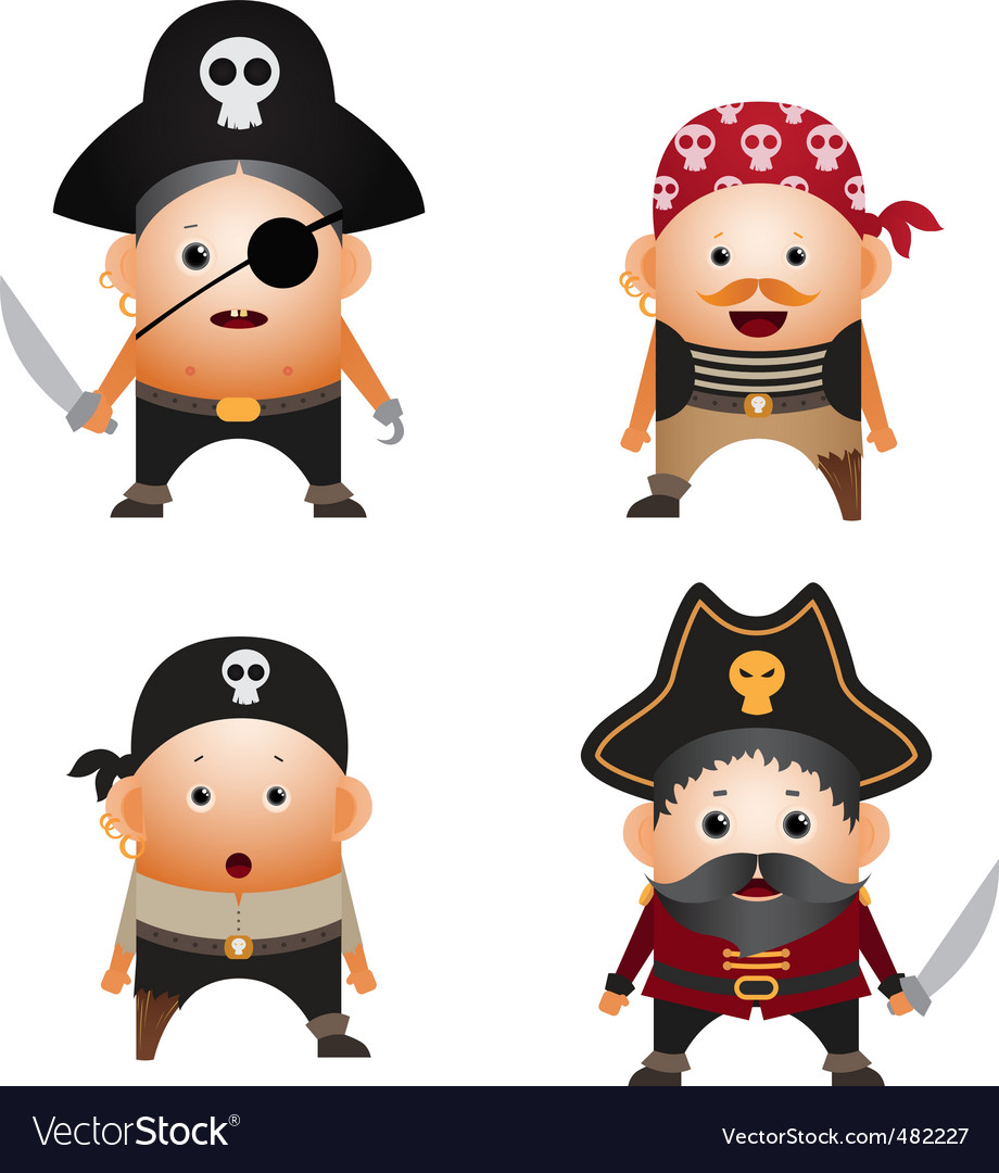 Set of cartoon pirates vector image