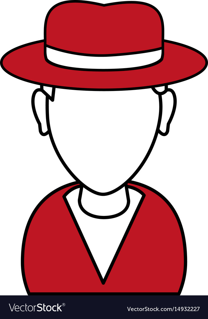 Silhouette in red and white of cartoon half body