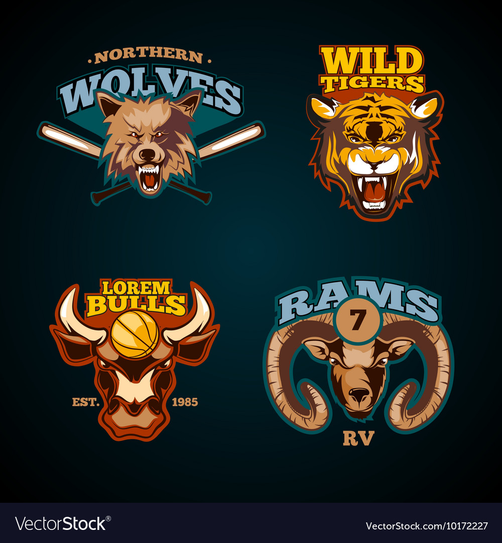 Sports labels with heads animals wolf