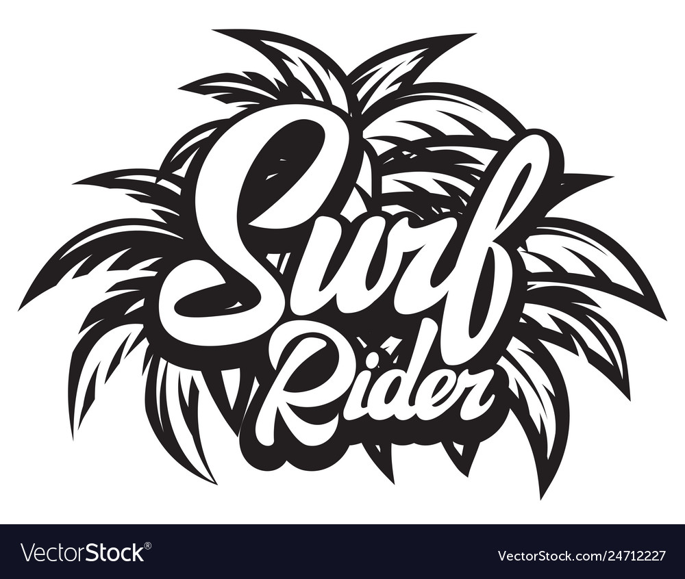 Surf rider lettering poster surfing related