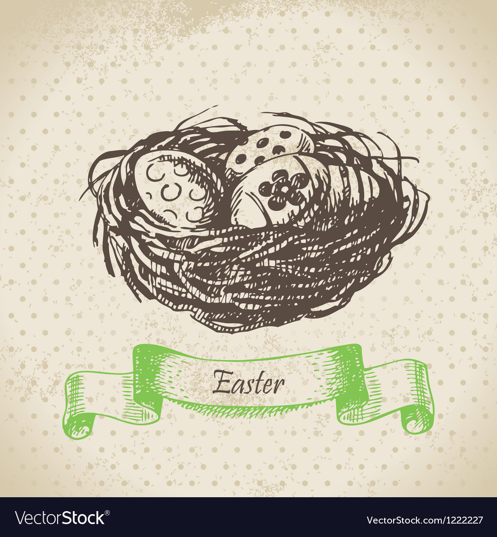 Vintage background with Easter eggs and nest