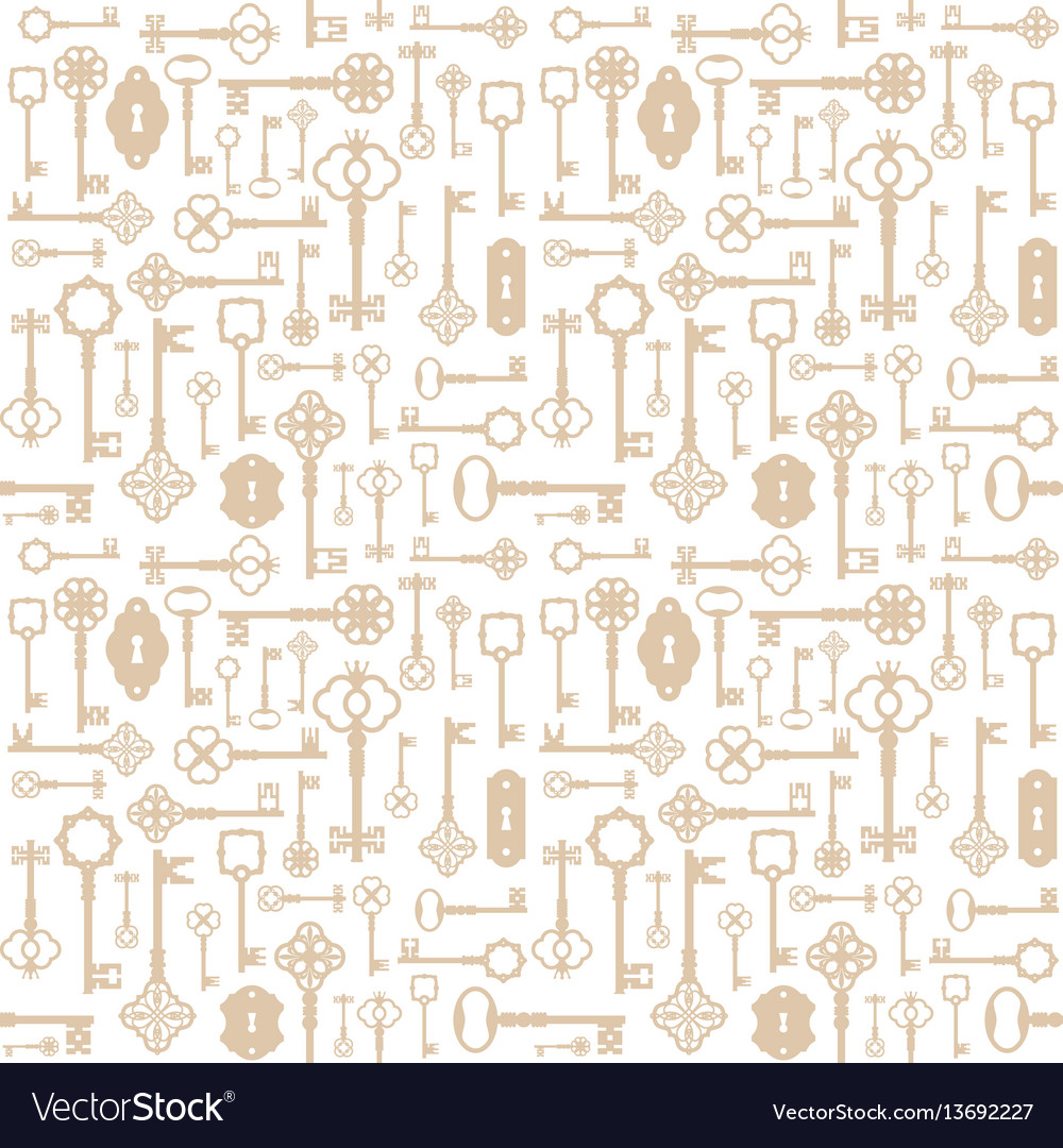 Vintage keys seamless pattern background for