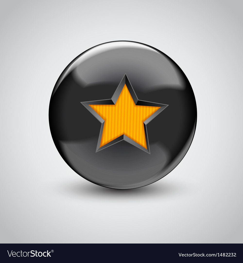 3d Black Sphere With Star Symbol Royalty Free Vector Image