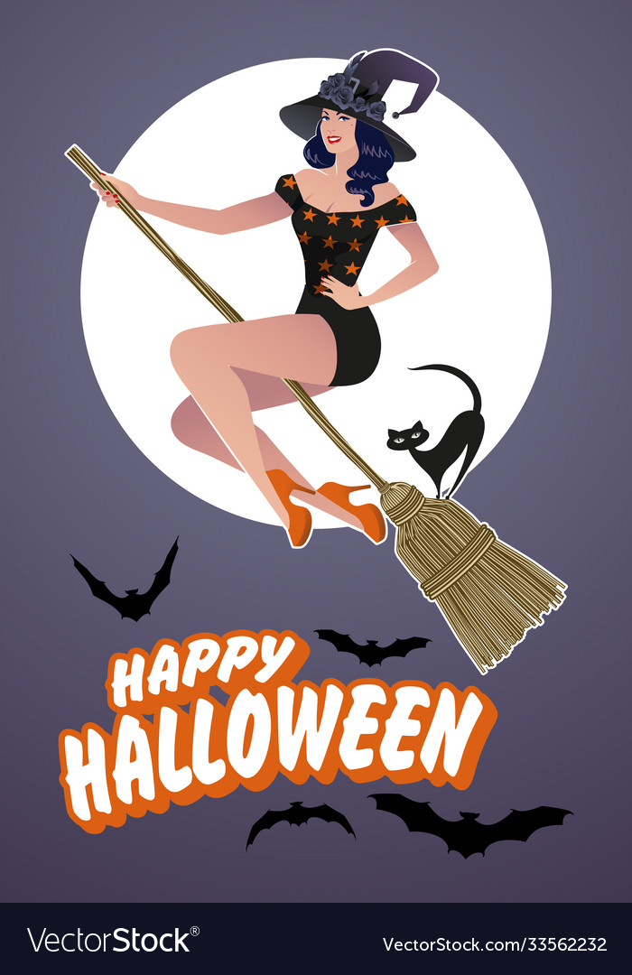 Pinup Retro Witch Vector Images 25