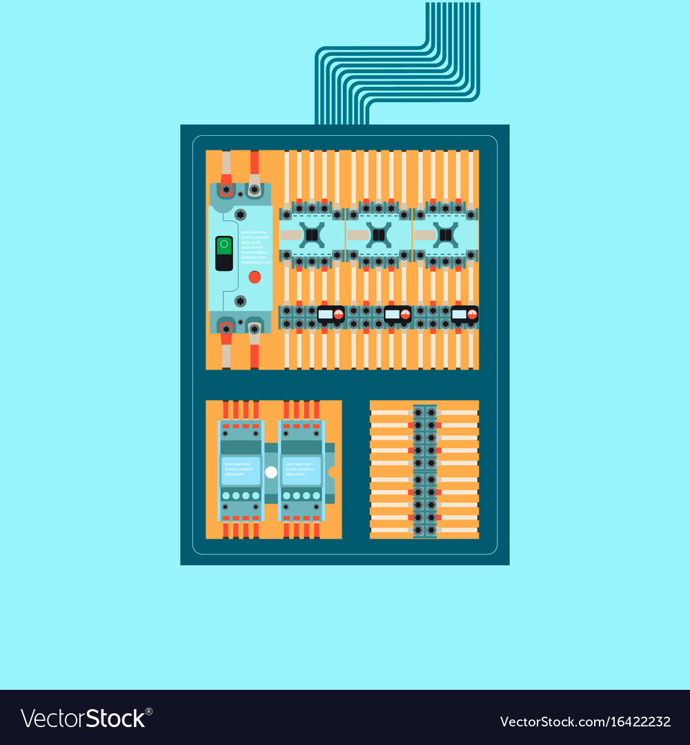 Electrical control wire system in cabinet with Vector Image