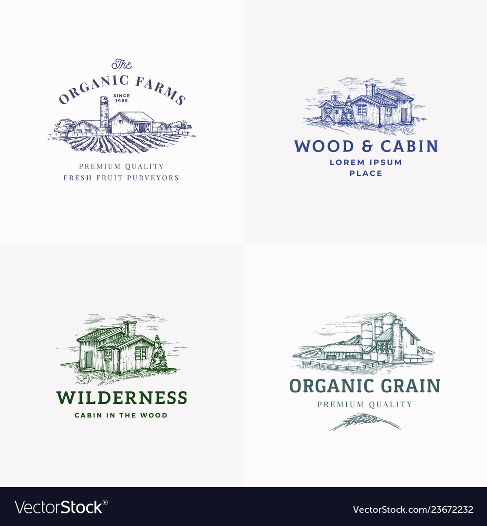 Farms and cabins abstract signs symbols or