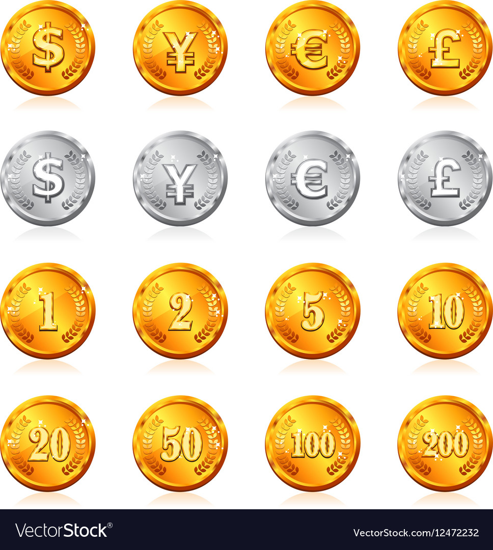 Gold and silver currency coin icon
