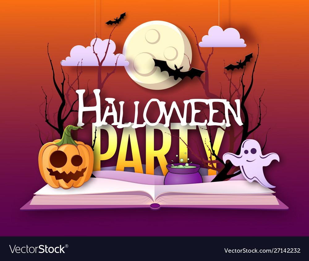 Halloween disco party poster with jack o lantern