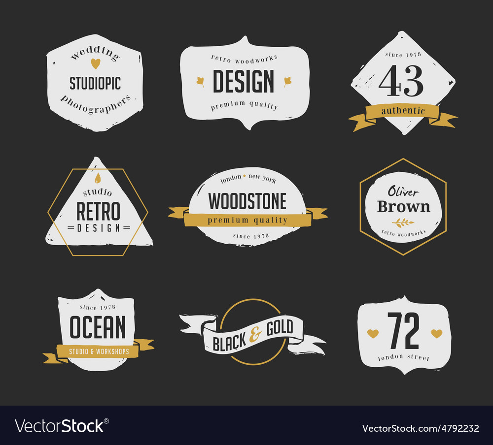 Hand drawn hipster vintage retro labels and logo
