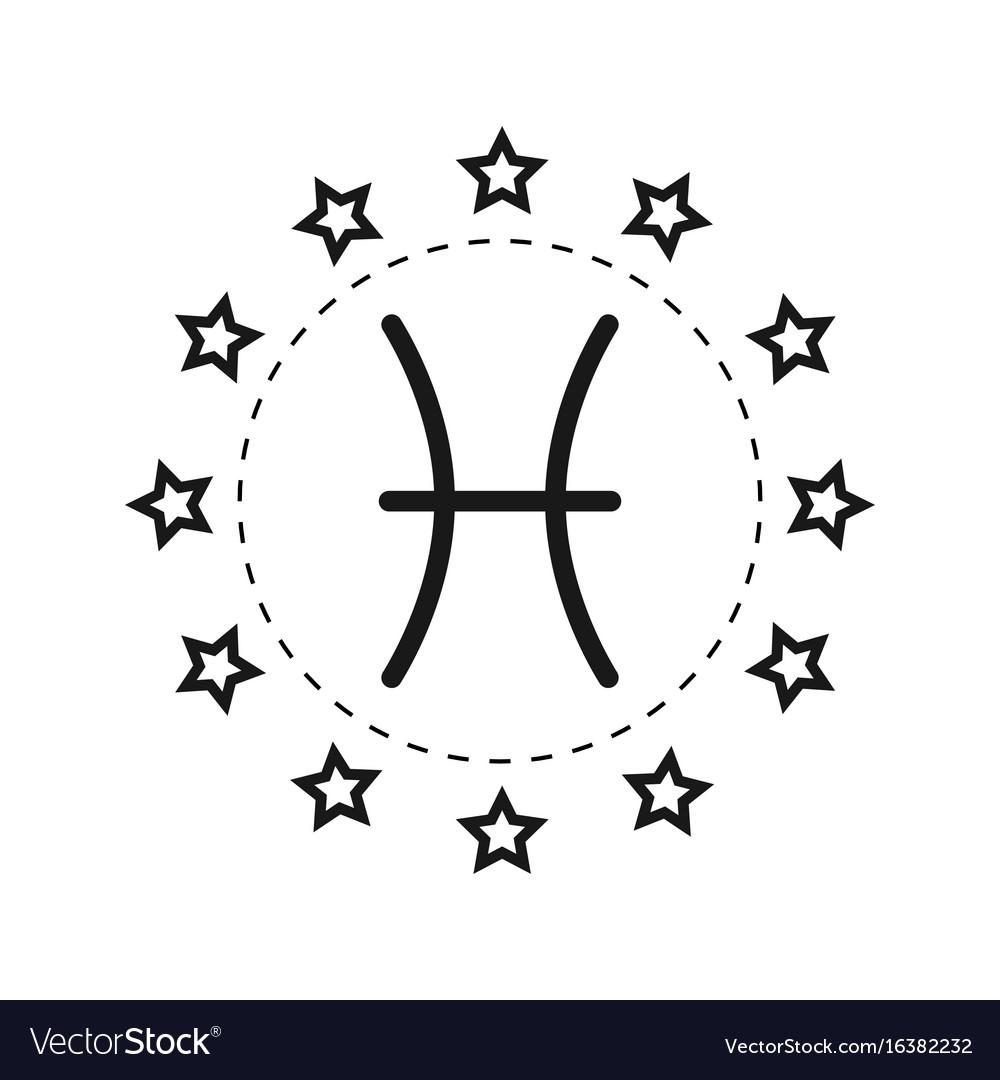 Pisces sign of the zodiac flat symbol horoscope