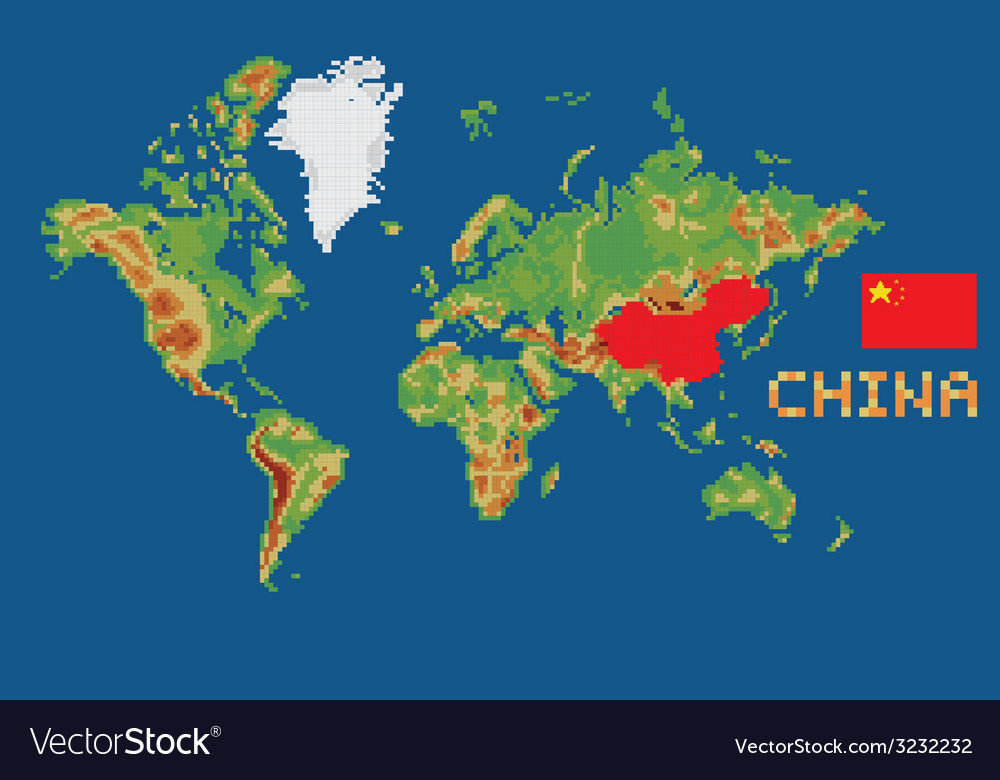 Pixel art style world map with shape china borders pixel art style world map with shape china borders vector image gumiabroncs Image collections