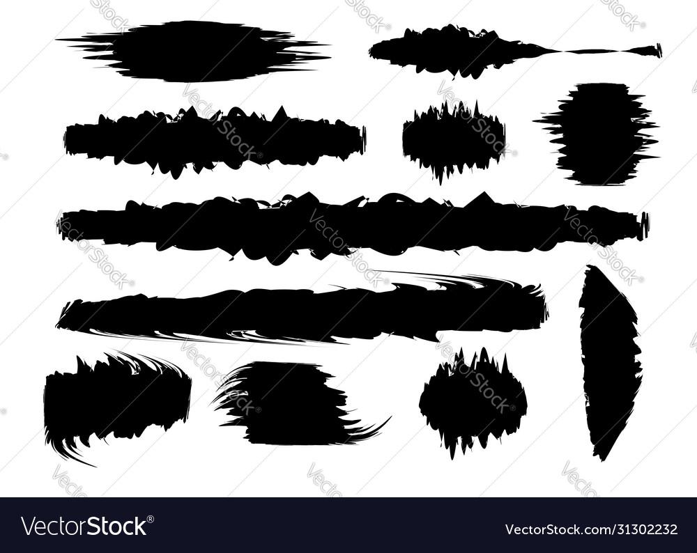 Set black paint brush spots highlighter lines
