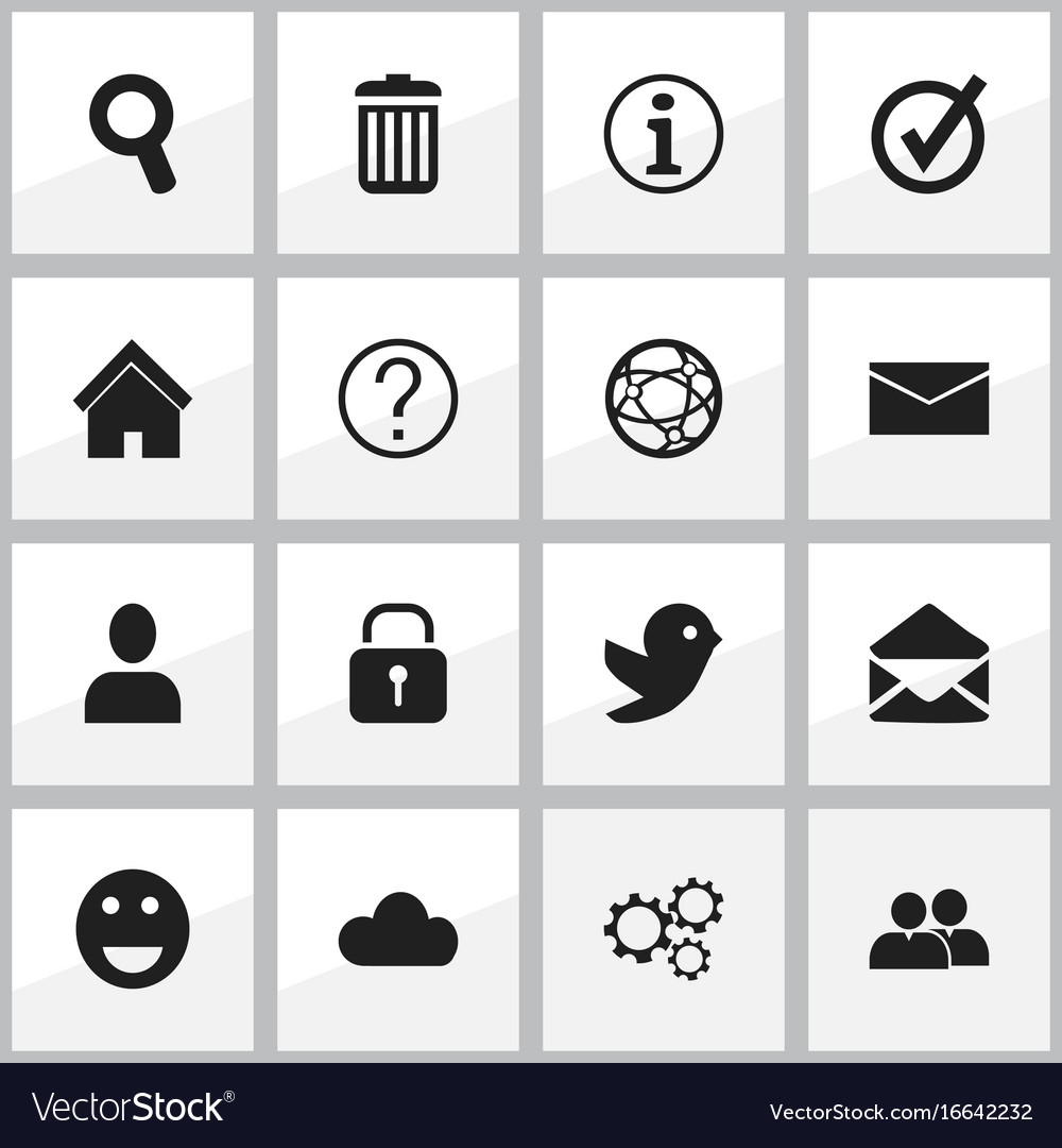 Set of 16 editable internet icons includes