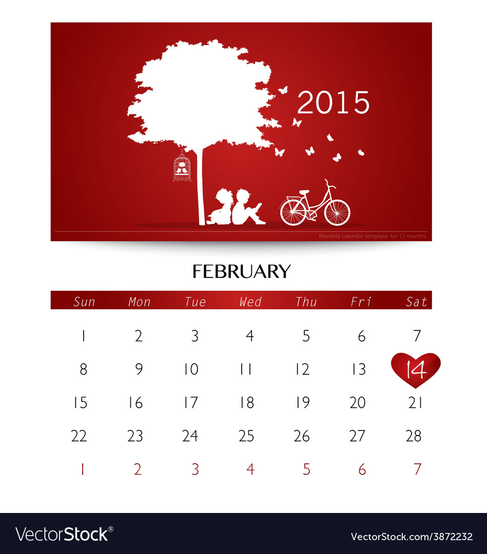 Valentines Day 2015 Calendar February Royalty Free Vector