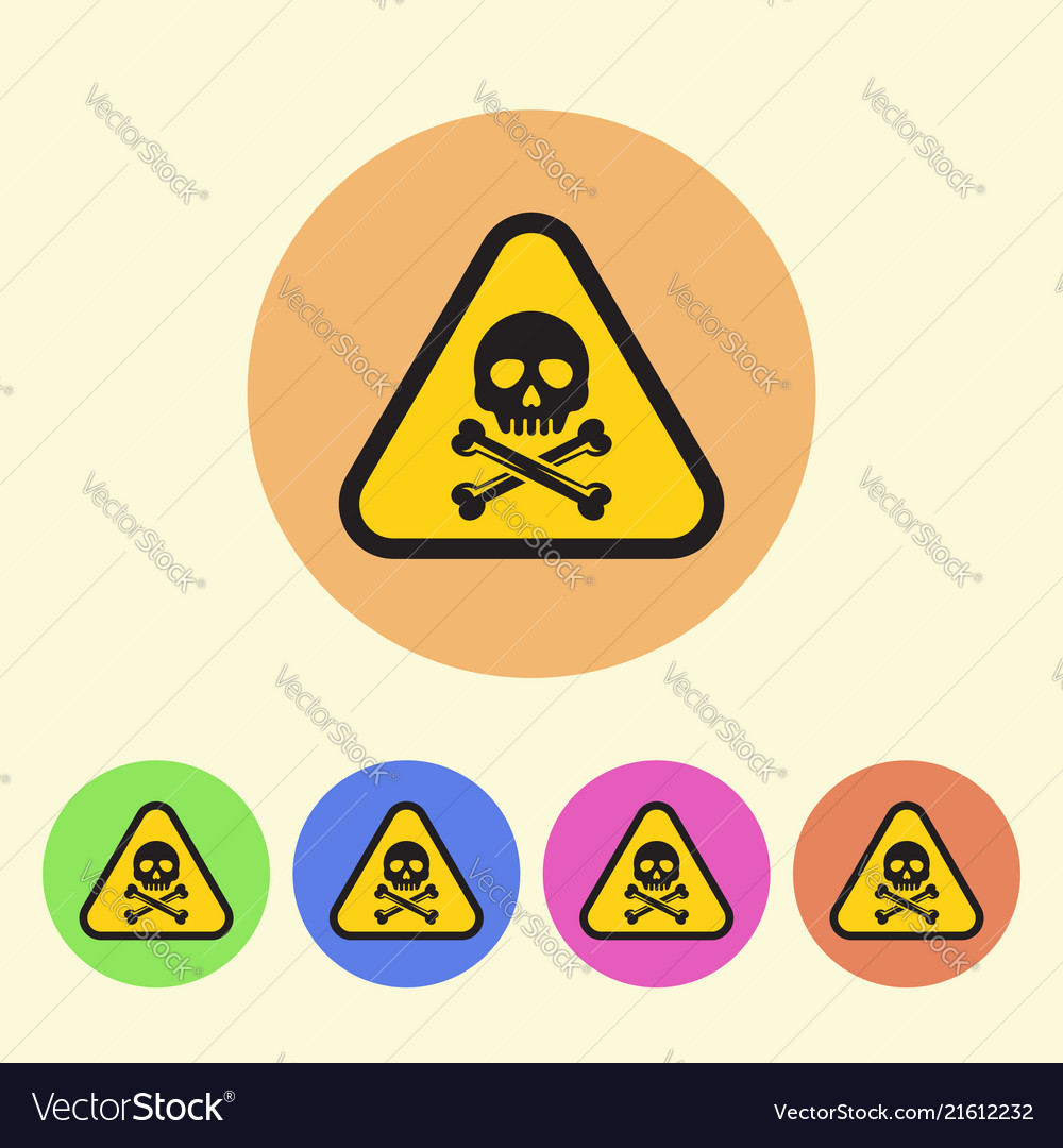 Warning sign flat style round colored icons