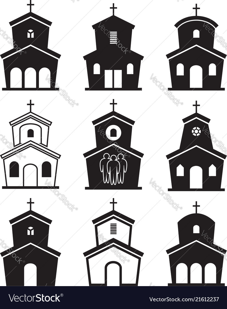 Black and white icons of church buildings