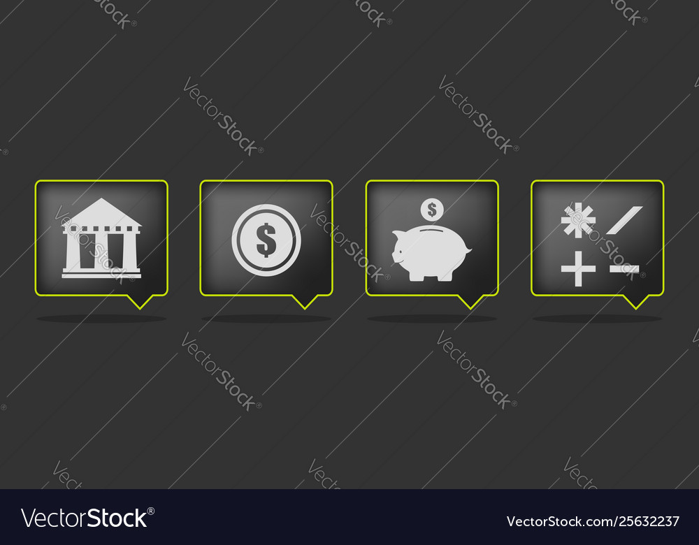 Black bank icons vector