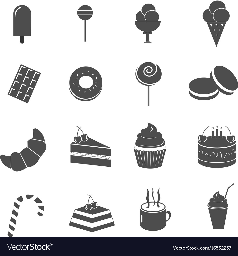 Cake and sweet dessert icons set