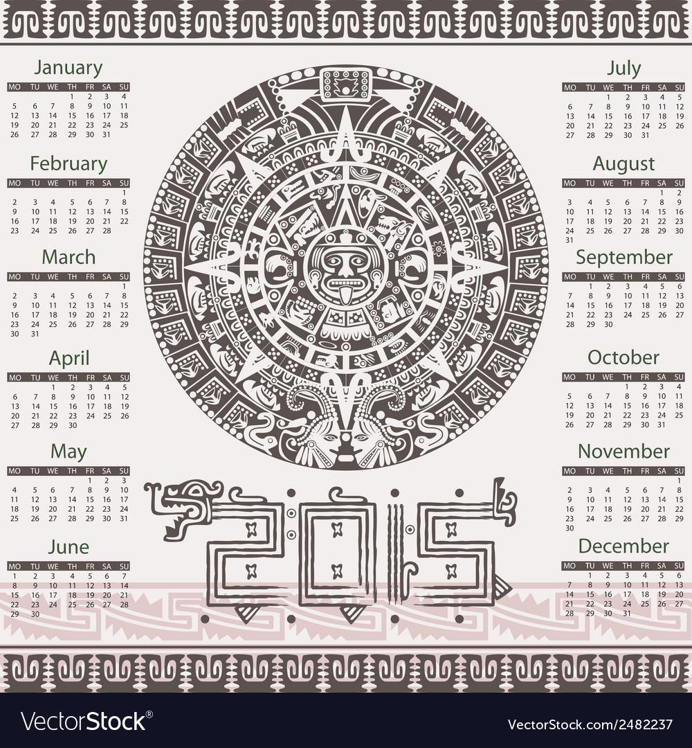 Calendar in aztec style vector image