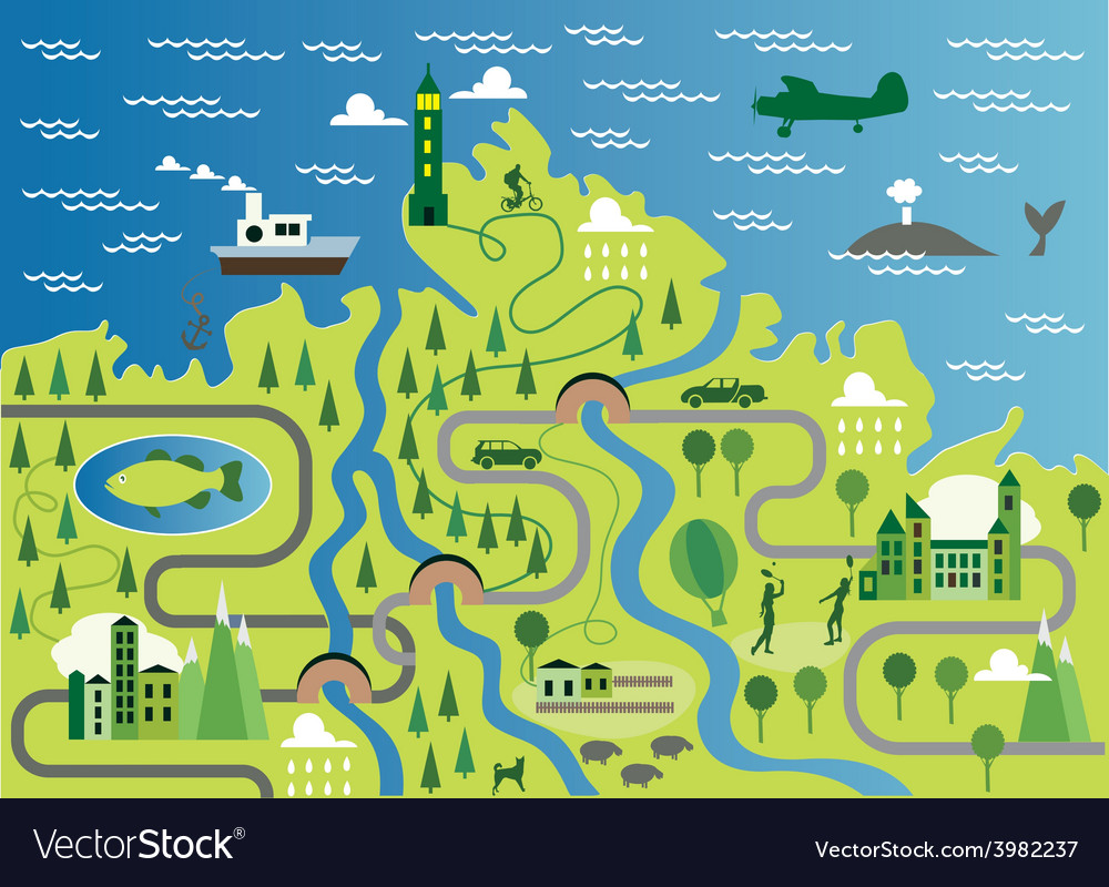 cartoon map royalty free vector image vectorstock vectorstock