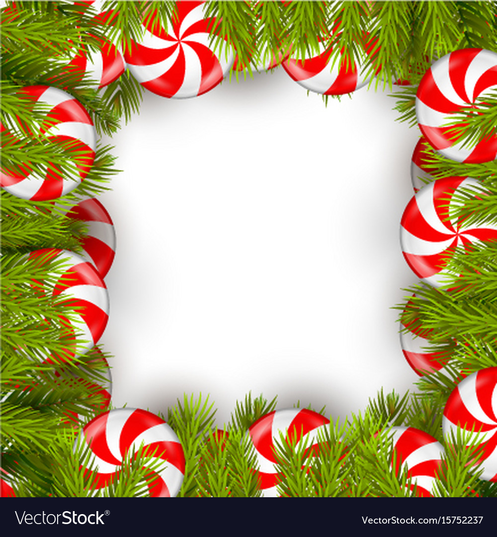 Christmas background with lollipop and pine tree