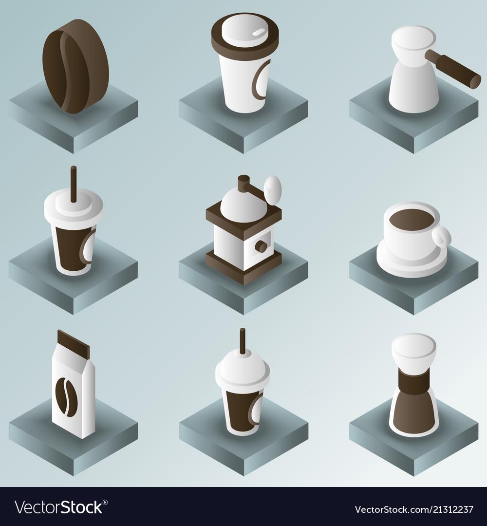 Coffee color gradient isometric icons