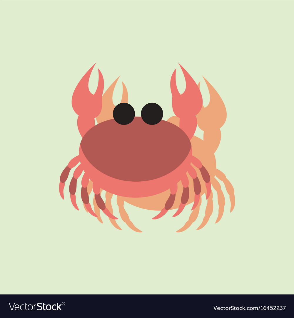 Crab in cartoon style seafood product design in
