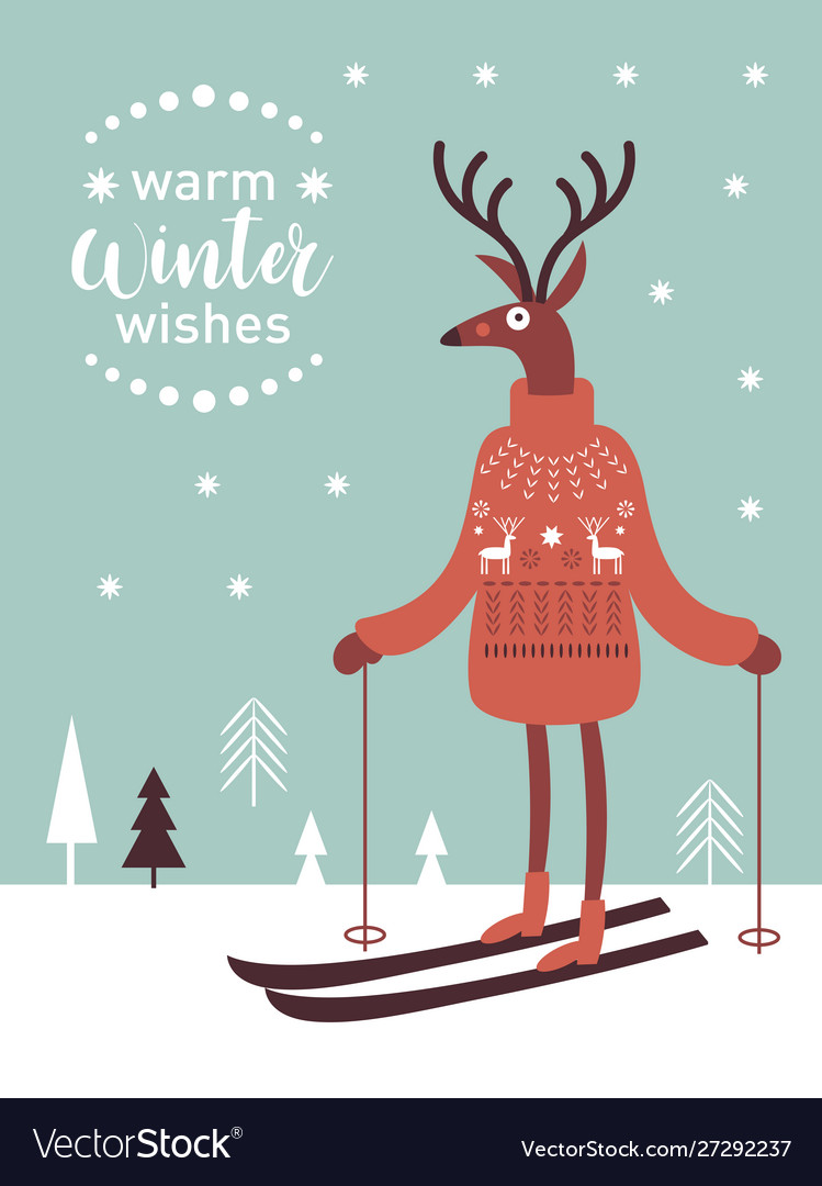 Cute deer in knitted sweater skiing