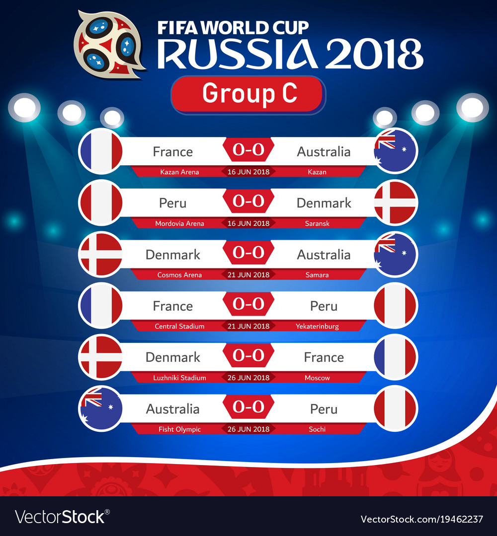Fifa world cup russia 2018 group c fixture